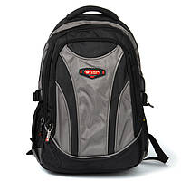 Текстильный рюкзак 924 grey серый спортивный школьный из нейлона, фото 1