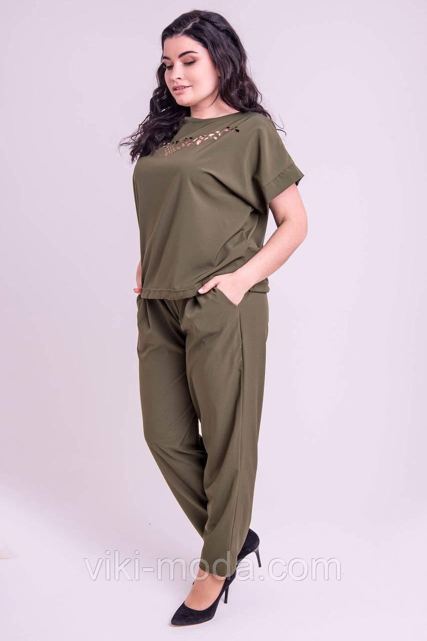 Женский летний штапельный костюм большого размера Николь, цвет хаки.