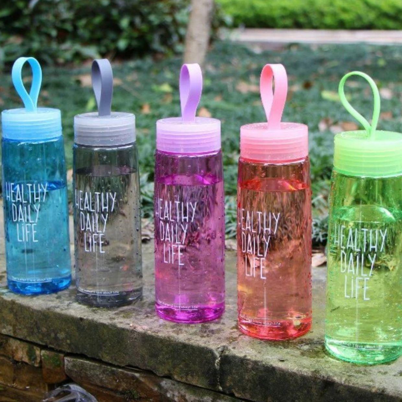 Бутылка спортивная фляга чашка для воды питья портативная рукоятка эко пластик 520 мл