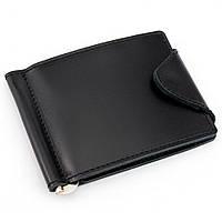 Кожаный зажим для денег на кнопке Crez-31 (черный)