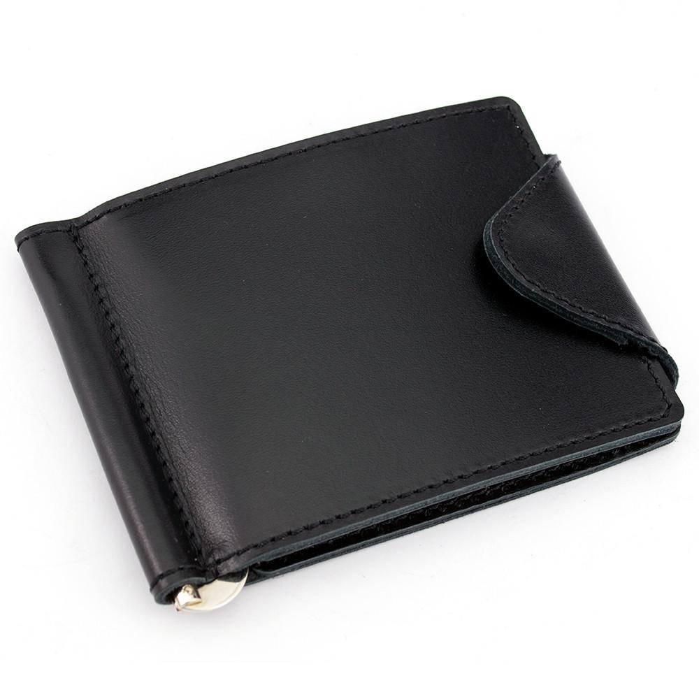 Зажим для денег кожаный с кнопкой Crez-31 (черный)