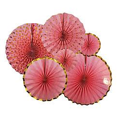 Набор бумажных вееров нежно-розовый с золотом