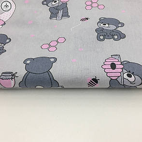 """Польская хлопковая ткань """"мишки с розовыми колпаками на сером"""", фото 2"""