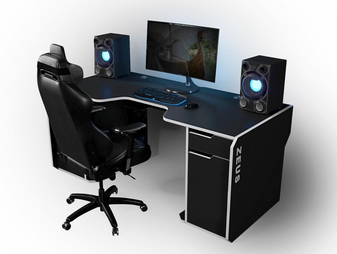 "Стол компьютерный 180х85х76 см. ""Viking-2M"" Геймерский, черный/белый"
