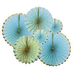 Набор бумажных вееров нежно-голубой с серебром