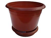 """Горшок для цветов пластиковый Ø 250 мм с подставкой 5,5 литров коричневый""""Юнипласт"""" + Видео, фото 1"""