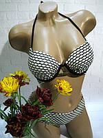 Купальник раздельный лиф пуш ап, плавки бикини черно-белый 36,38,40 евро
