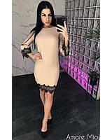 Женское стильное платье до колена с кружевом , фото 1