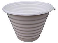 """Горшок для цветов ребристый Ø 170 мм 1,5 литра белый пластиковый """"Юнипласт"""""""