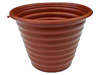 """Горшок для цветов ребристый Ø 170 мм 1,5 литра коричневый пластиковый """"Юнипласт"""", фото 1"""