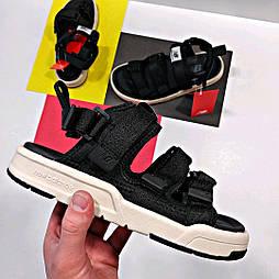 Женские сандалии New Balance Sandal летние черные с белым. Живое фото. Топ качество. (Реплика ААА+)