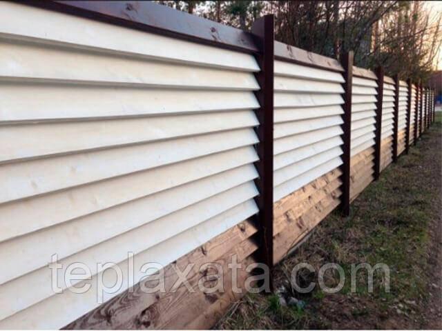 Забор-жалюзи металлический 40/120 Классик полиестер 0.45 мм (0,5-3,0 м)