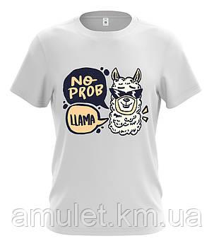 """Футболка чоловіча біла """"No prob Llama"""", фото 2"""