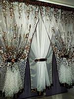 """Короткий тюль и ламбрикен на карниз до 3м, """"Утренние розы"""", фото 1"""