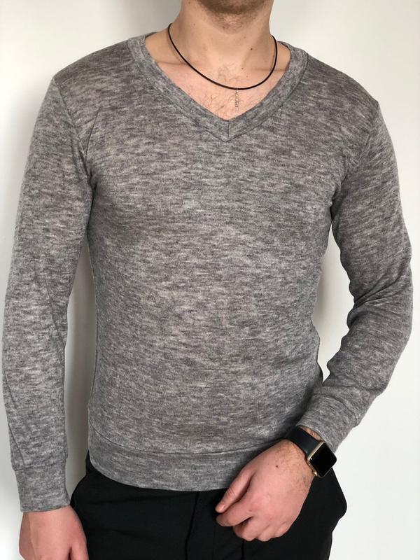 Мужской легкий свитер - кофта - реглан с вырезом