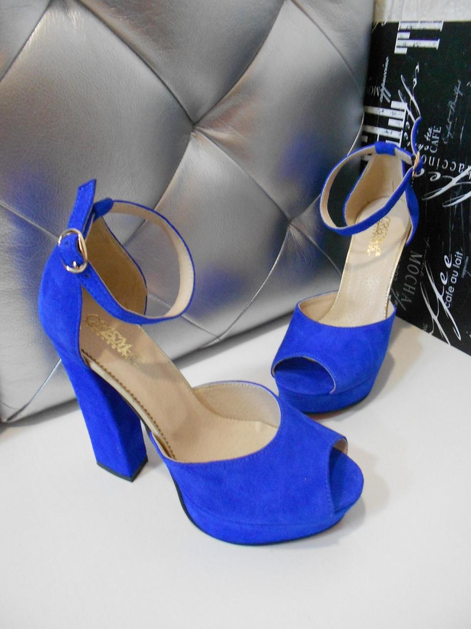 Женские замшевые босоножки на высоком каблуке 36-40р