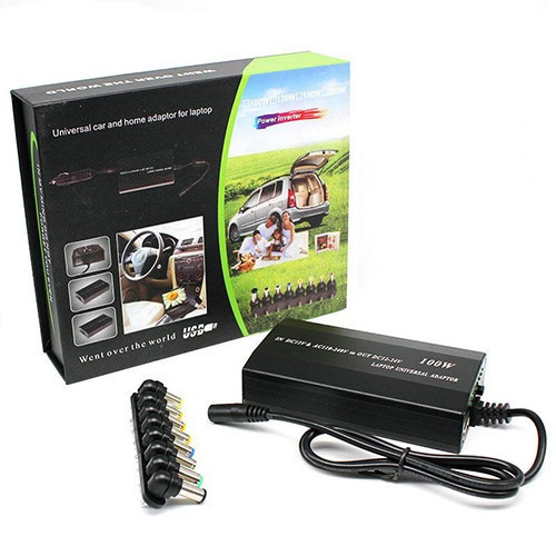 Универсальная зарядка автомобильная для ноутбука 120W 12V+220V в коробке