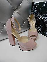Женские замшевые босоножки на высоком каблуке 36-40р, фото 3