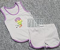 Детский летний костюм р. 74 для мальчика тонкий ткань КУЛИР 100% хлопок 4743 Фиолетовый