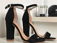 Модные черные босоножки на толстом каблуке, фото 1