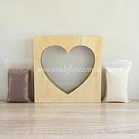 """Набор для свадебной песочной церемонии: Рамка """"Сердце"""" под дерево + песок, фото 1"""