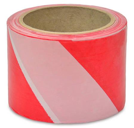 Сигнальная лента Favorit красно белая 80 мм х 100 м (10-600), фото 2