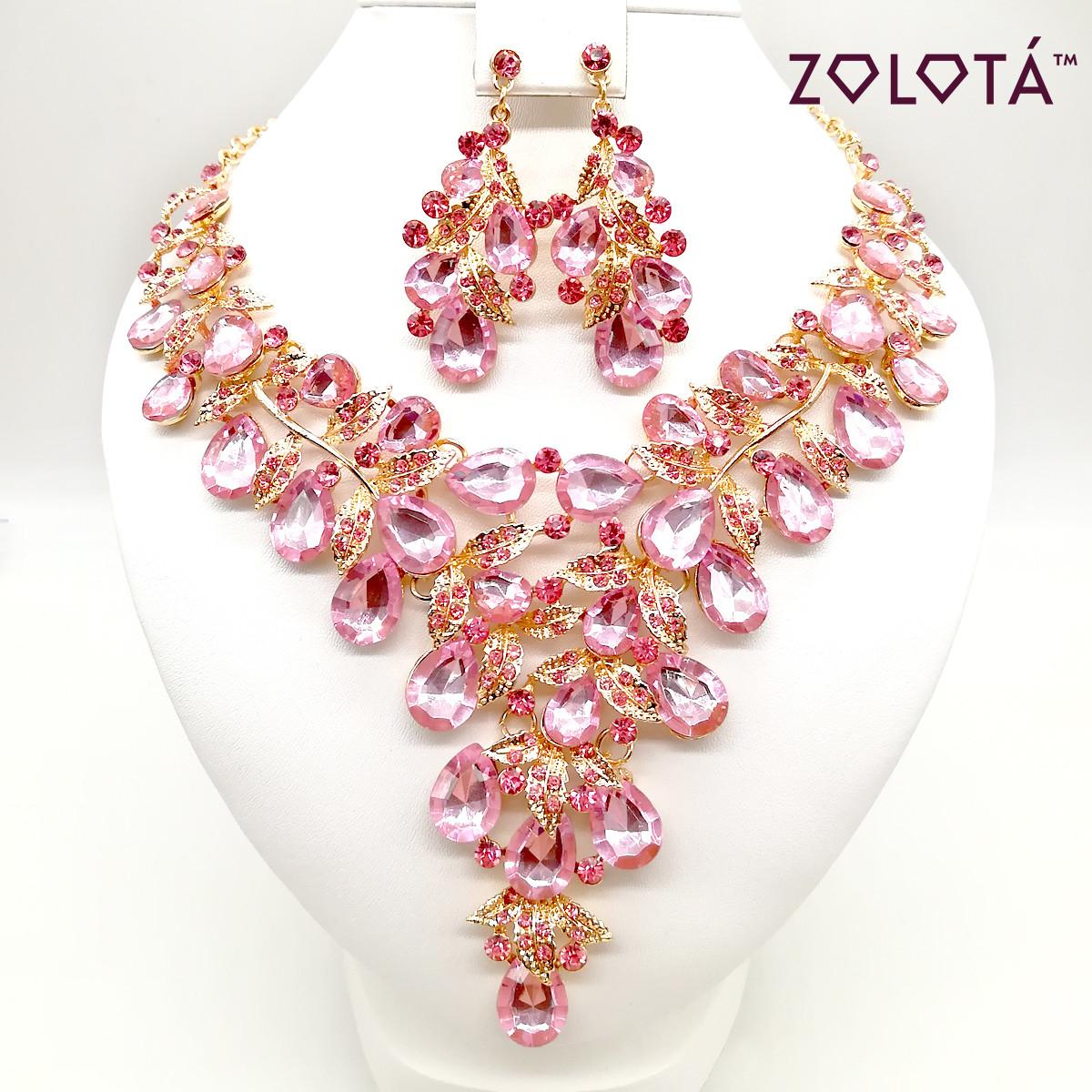 Комплект (Колье + серьги) с нежно-розовыми камнями, ЗЛ00124 (1)