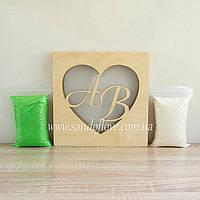 """Набор для свадебной песочной церемонии: Рамка """"Сердце"""" с инициалами + песок (светлое дерево), фото 1"""