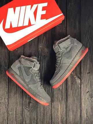 Кроссовки Nike Air Force Серые-Красные, фото 2