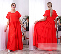 Летнее яркое платье льняное, с 48-58 размер, фото 1