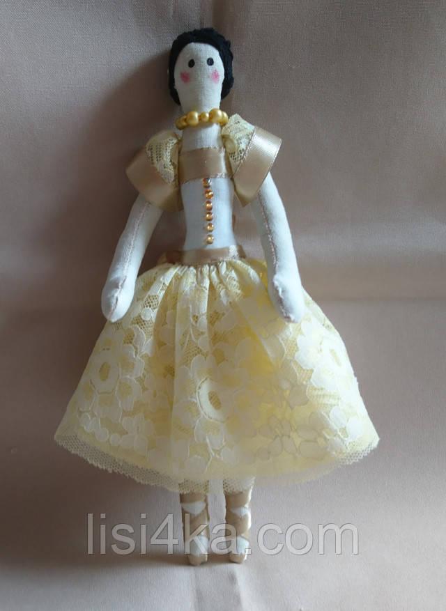 Кукла тильда интерьерная балерина в желтом платье