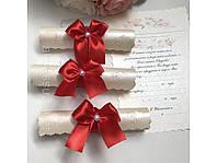 Свадебные красные  приглашения ручной работы