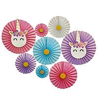 Набор бумажных вееров для оформления праздника Единорог