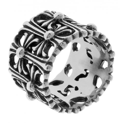Байкерское кольцо из стали с узором из стилизованных крестов 18 мм 129787