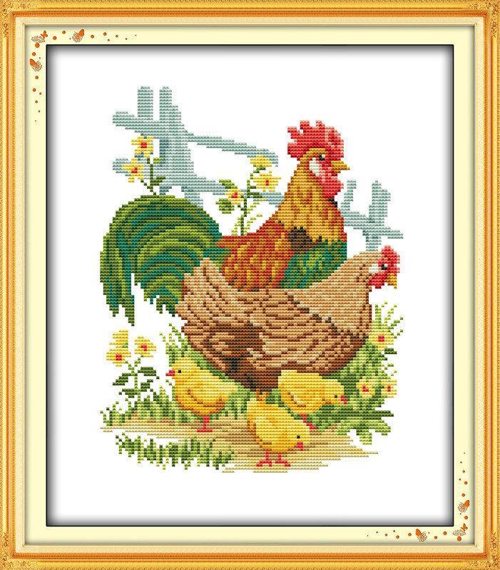 Куриное семейство D613/2 Набор для вышивки крестом  канва 14ст