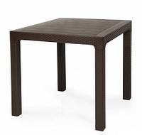Стол пластиковый Лагуна, коричневый ротанг, 80*80*75h см