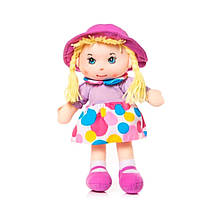 М'яконабивна лялька в капелюшку, 36 см, лілова «Devilon» (56114-3)