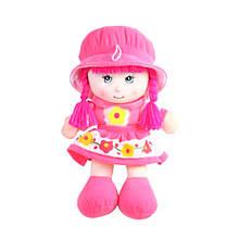 М'яконабивна лялька в шапочці, 36 см, рожева «Devilon» (52314-3)