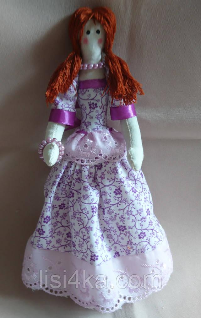 Кукла тильда интерьерная балерина в сиреневом платье