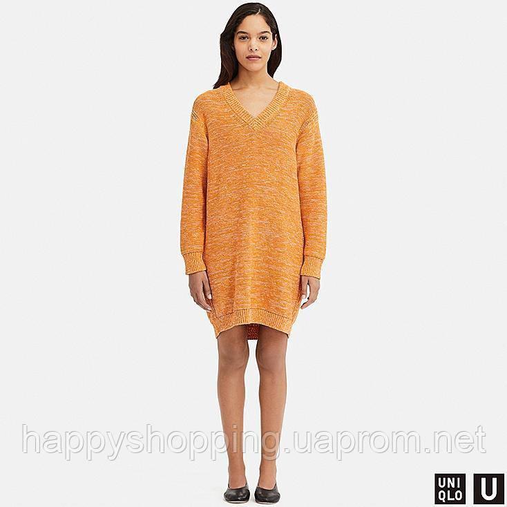Женское оригинальное стильное вязаное  оранжевое oversize платье  Uniqlo