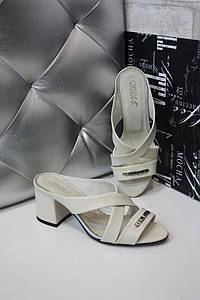 Комбинированные женские шлепанцы на квадратном каблуке 36-40р