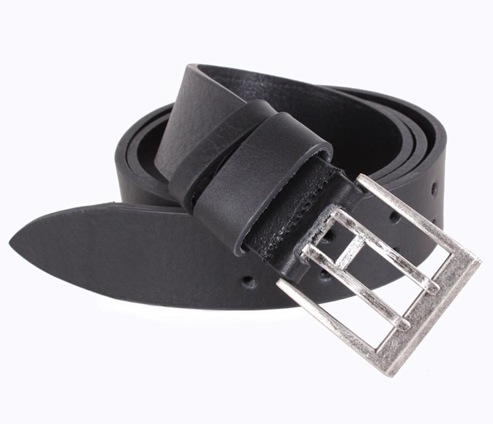 Мужской кожаный ремень Dovhani LD666-205 115-125 см Черный