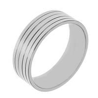 Кольцо из стали мужское с рифленой поверхностью 7 мм 129796