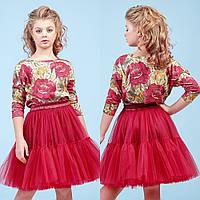 Костюм детский красный юбка+блуза zironka