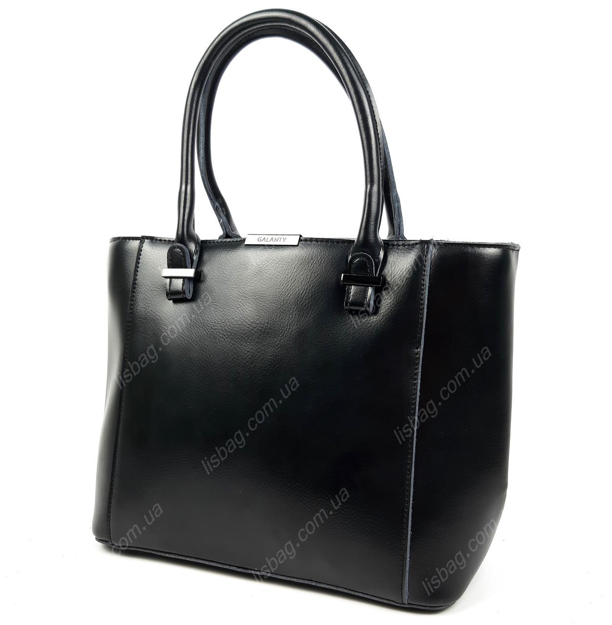7ba12a8217a3 Вместительная черная сумка из натуральной кожи Galanty для повседневной  носки, 2018