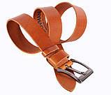 Мужской кожаный ремень Dovhani LD666-255 115-125 см Рыжий, фото 3