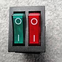Кнопка переключатель двойной с подсветкой 6pin 15A 220V