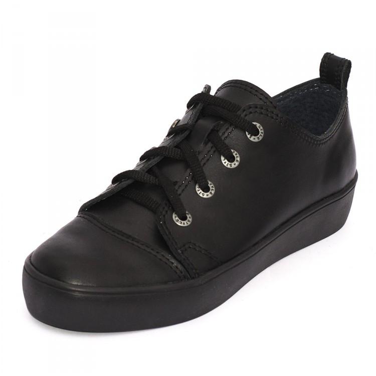 Кеды черные кожаные 8010