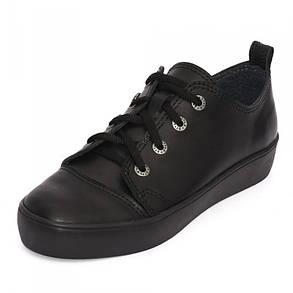Кеды черные кожаные 8010, фото 2