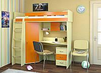 """Кровать чердак с встроенным столом и шкафом """"Каприз"""" дуб молочный + оранж"""